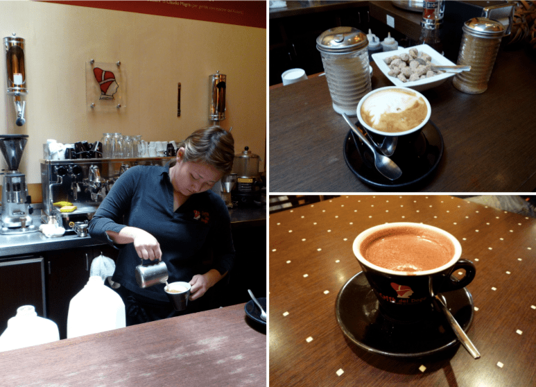 (Left) Careful preparation of my cappuccino; (Top Right) My cappuccino with various choices of sweeteners; (Bottom Right) My drinking hot chocolate