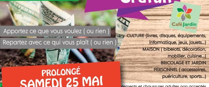 PROLONGATION: «FAITES DU GRATUIT» – samedi 25 mai