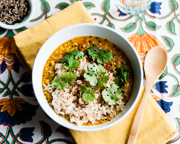 dal with brown rice