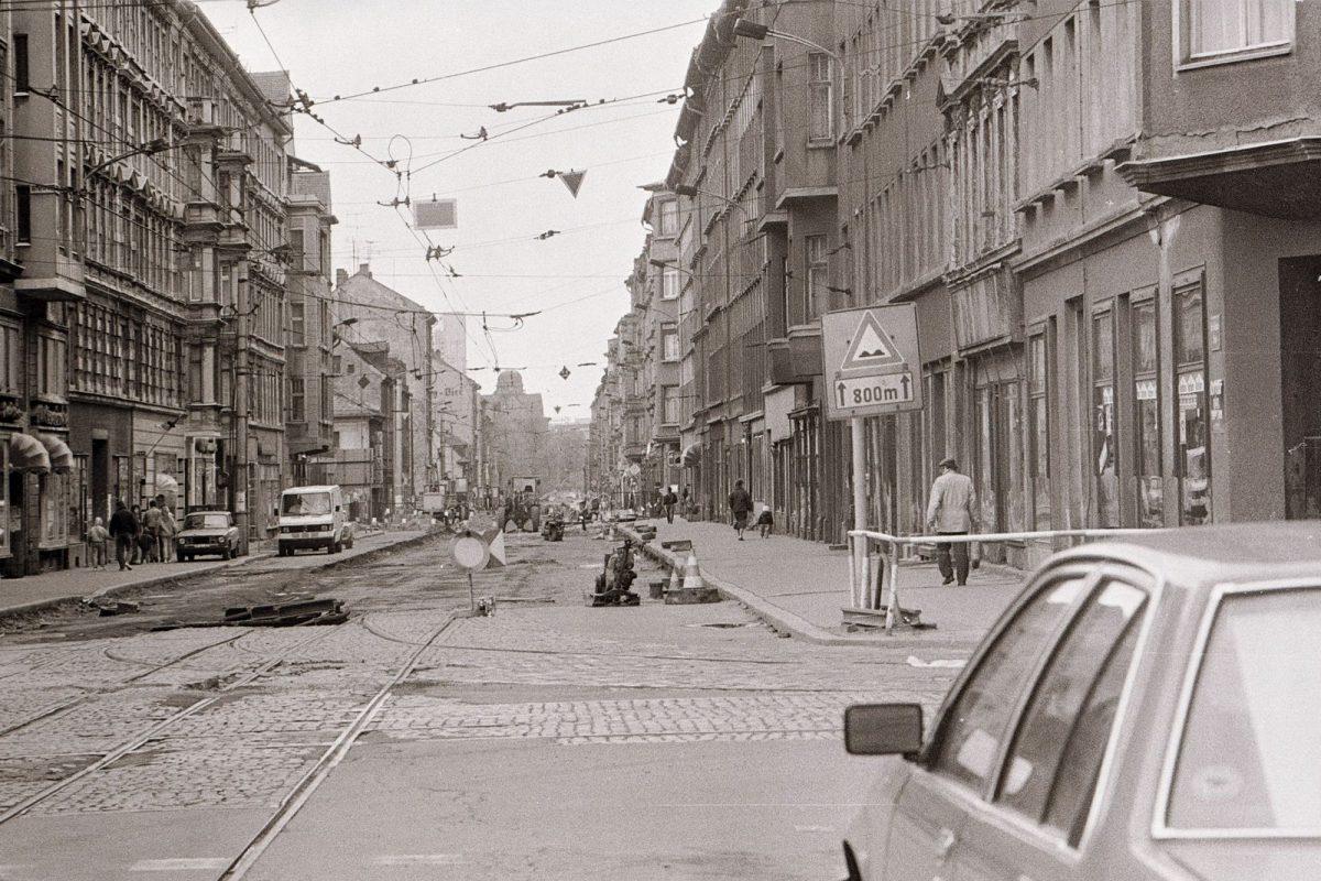 Baustelle auf der Eisenbahnstraße um 1990
