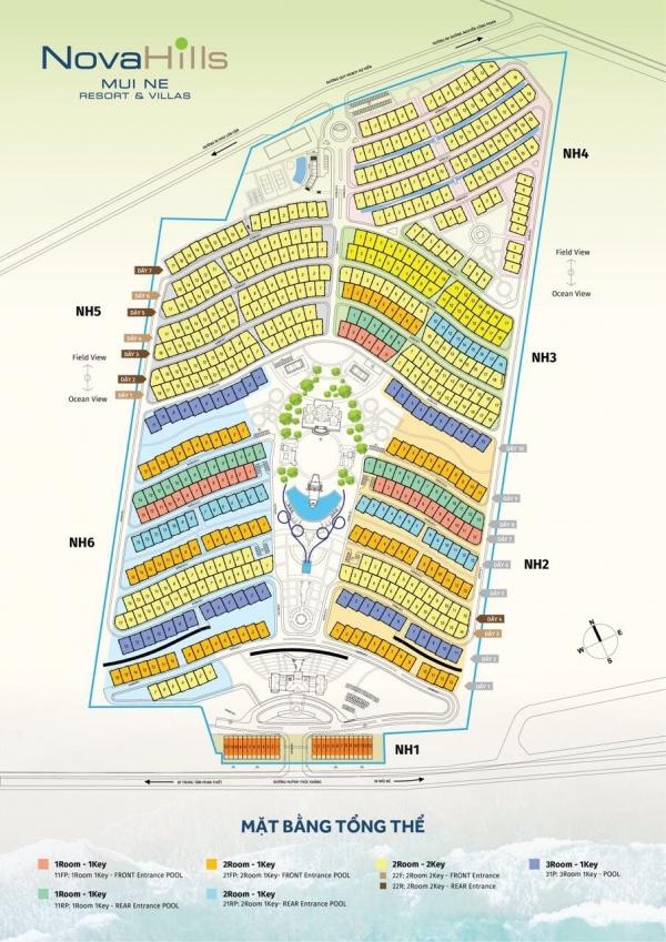 Mặt bằng tổng thể khu nghỉ dưỡng Nova Hill Mũi Mé Resort & Villas