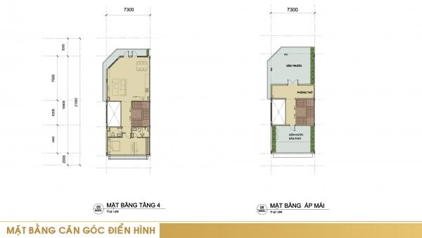 Mặt bằng tầng 4 và tầng áp mái căn góc điển hình tại dự án Sari Town