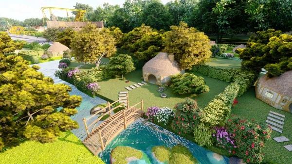 Phối cảnh cảnh quan trong công viên nội khu dự án Eco Bangkok Villas Bình Châu