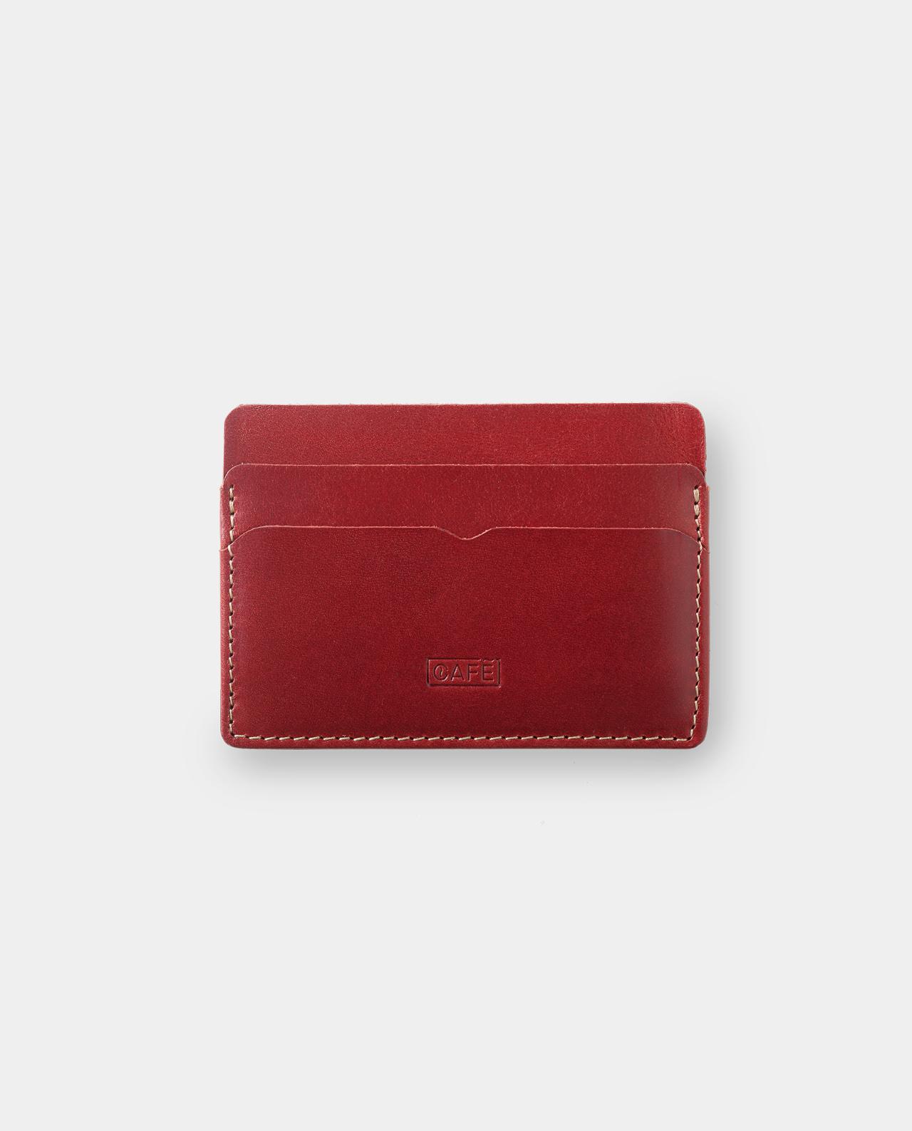 1999dec57 Tarjetero de piel Panama Plus Berry | Café Leather Supply