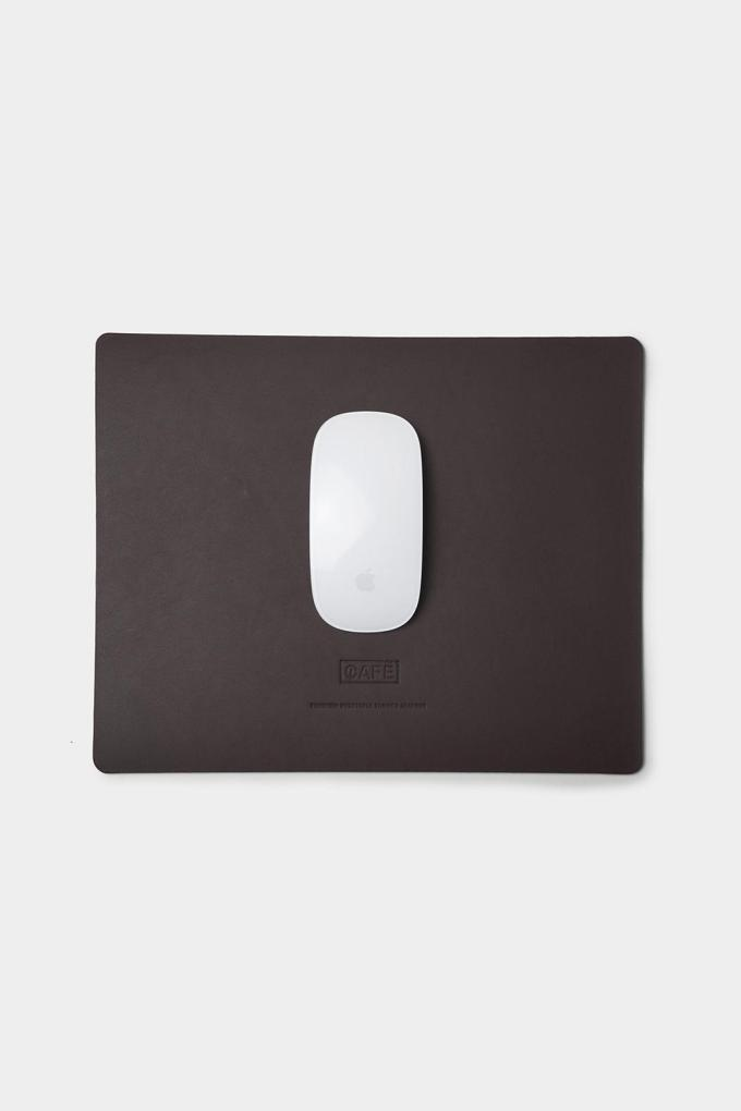 Large leather mousepad black coffee handcrafted in Spain.