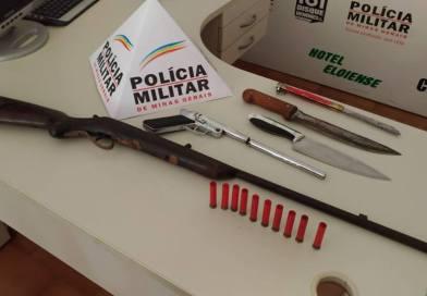 Polícia prende agressor de esposa com armas de fogo