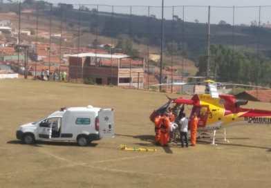 Criança é socorrida em Elói Mendes pelo helicóptero do CBMG