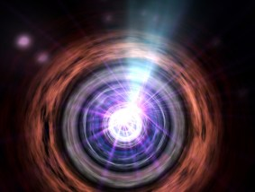 blazar -in the heart of an active galaxy, matter falling into a supermassive black hole somehow creates jets of particles traveling near the speed of light, one of these jets beams right toward Earth