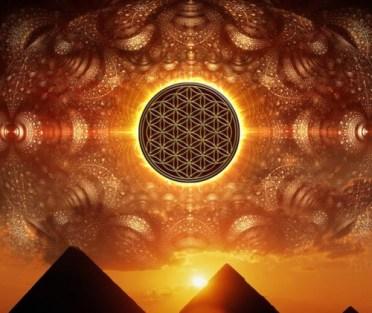 flower of life over pyramids