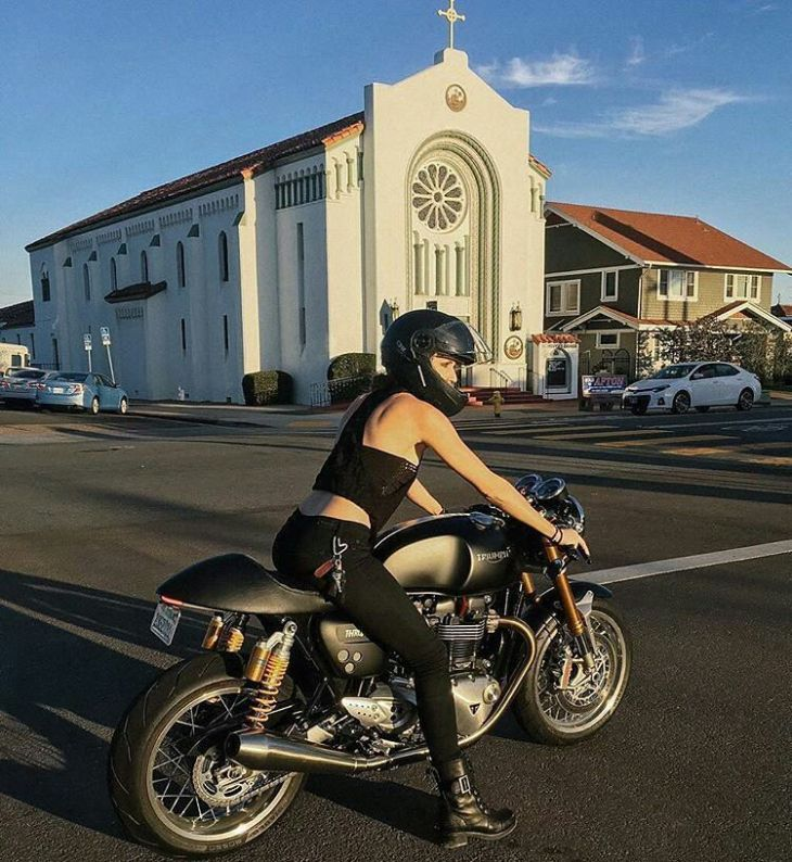 By @tokyovenus - Finally got to ride the 2016 Triumph Thruxton R this weekend and let me tell you, it was a religious experience, so this photo in front of a church is fitting, LOL. This bike does 50 in first gear and then stops on a dime with the Brembo breaks. This gal is super torquey and the throttle response and acceleration is amazing comparred to my Bonneville (sorry Goldie!) What a babe! I want it!!! Photo by @dylmarphoto