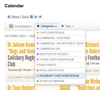 Calendar Categories list, with a Filter applied to only show Salisbury Cafe Scientifique Events