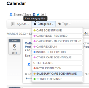Calendar Category list, with a Filter applied and the 'clear filters' tooltip visible