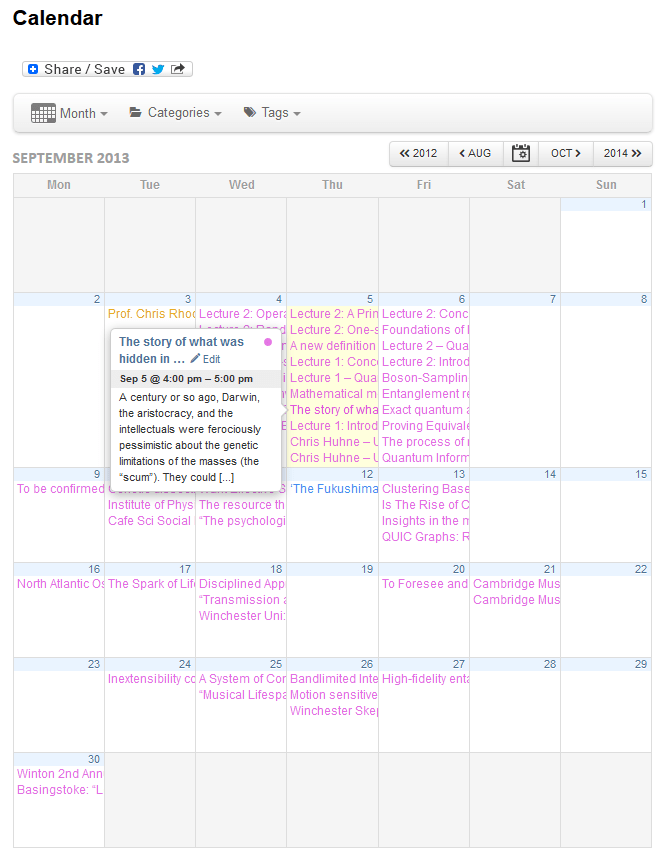 Calendar View: Month, showing all events from all sources