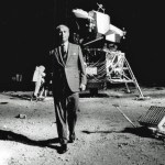 AJP092502 - Wernher von Braun walks around a replica of the Apollo 11 moon landing at Atlanta's Southeastern Fair, 9/25/69