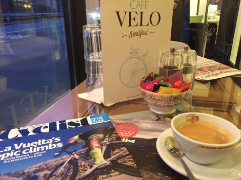 Coffee and a cycling magazine on a dull day.