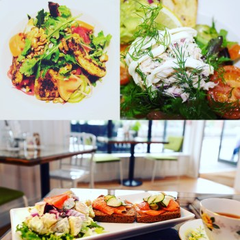 Food images including Chicken Salad, Crab Salad & Open Ballycotton Smoked Salmon Sandwich.