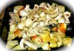 Adding mushrooms to Eggplant Medley