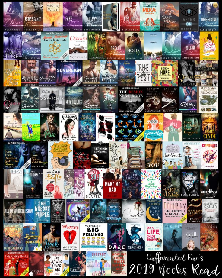 Picture of all 105 books read in 2019.