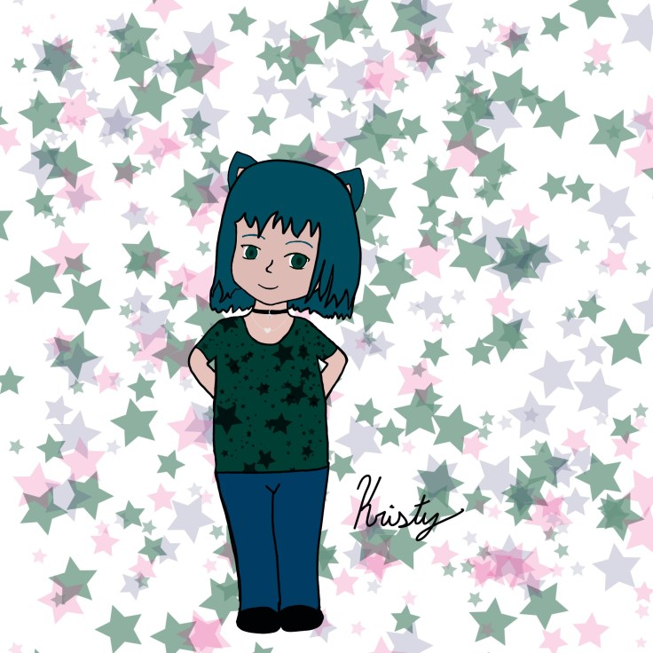 Drawing of Girl with teal hair & cat ears