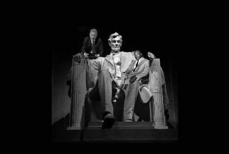Collage of the Abraham Lincoln Memorial in Washington, D.C. with Martin Luther King sitting on Lincoln's lap, and Glen Beck peering over his shoulder.