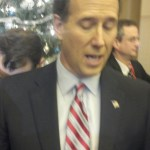 Rick Santorum in the post-debate spin room at Sioux City