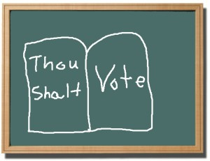 "Blackboard with the words ""Thou Shalt Vote"""