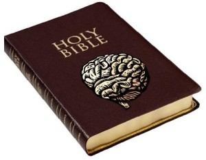 Brain pictured on a bible