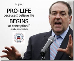 Former Arkansas Gov. Mike Huckabee speaks during a anti-abortion rally at Lafayette Park in Washington, Sunday, Jan. 22,  2012. (AP Photo/Jose Luis Magana)