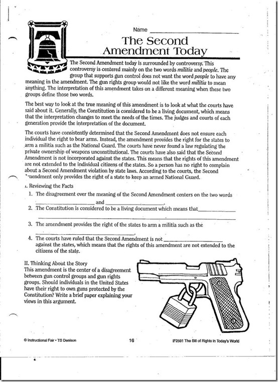 Connecticut School Hands Anti Second Amendment Worksheet