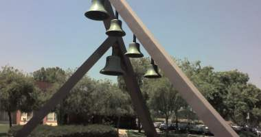 "The ""Biola bells"" at Biola University , a Christian university located in Southern California."