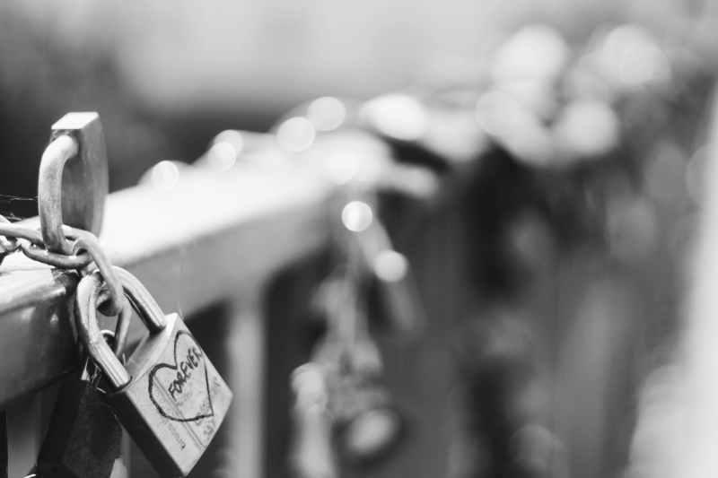 grayscale photo of padlock
