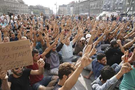 Syrian refugees strike in front of the Budapest Keleti railway station 9/3/15.Photo Credit: Mstyslav Chernov (CC-By-SA 4.0)