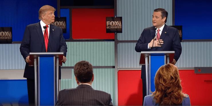 Donald Trump and U.S. Senator Ted Cruz (R-TX) debate his citizenship status.