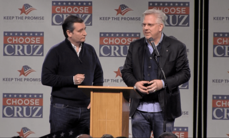 U.S. Senator Ted Cruz (R-TX) joins Glenn Beck on stage at a rally in Ankeny, IA.