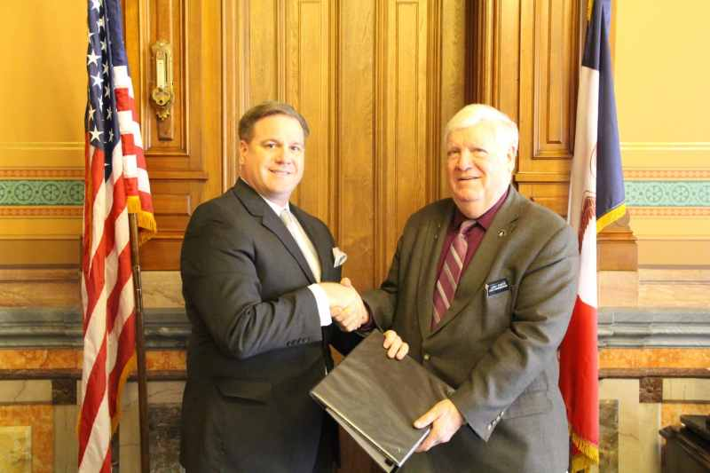 State Representative Larry Sheets (R-Moulton) on right. Photo credit: Iowa House Republicans