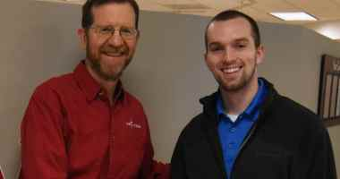 Chuck Hurley (L), vice president of The FAMiLY Leader, with Skyler Wheeler