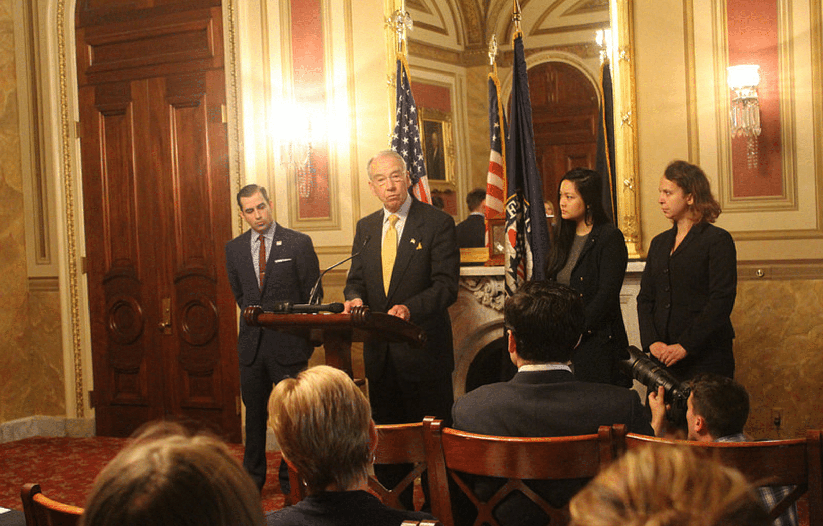 U.S. Senator Chuck Grassley (R-IA) Grassley with Adam Walsh's brother, Cal Walsh, and Amanda Nguyen, president of Rise