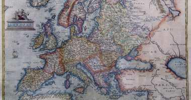Europe depicted by Antwerp cartographer Abraham Ortelius in 1595.