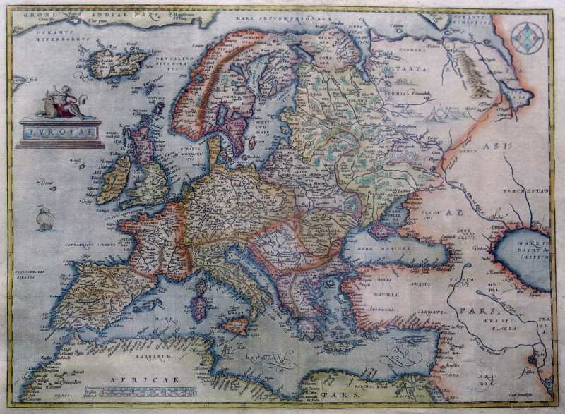 Europe depicted by Antwerp cartographer Abraham Ortelius in 1595.