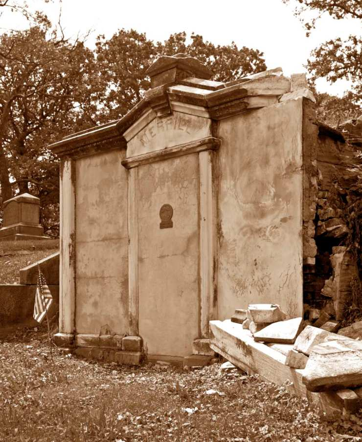 Governor Samuel Merrill's mausoleum before the restoration.