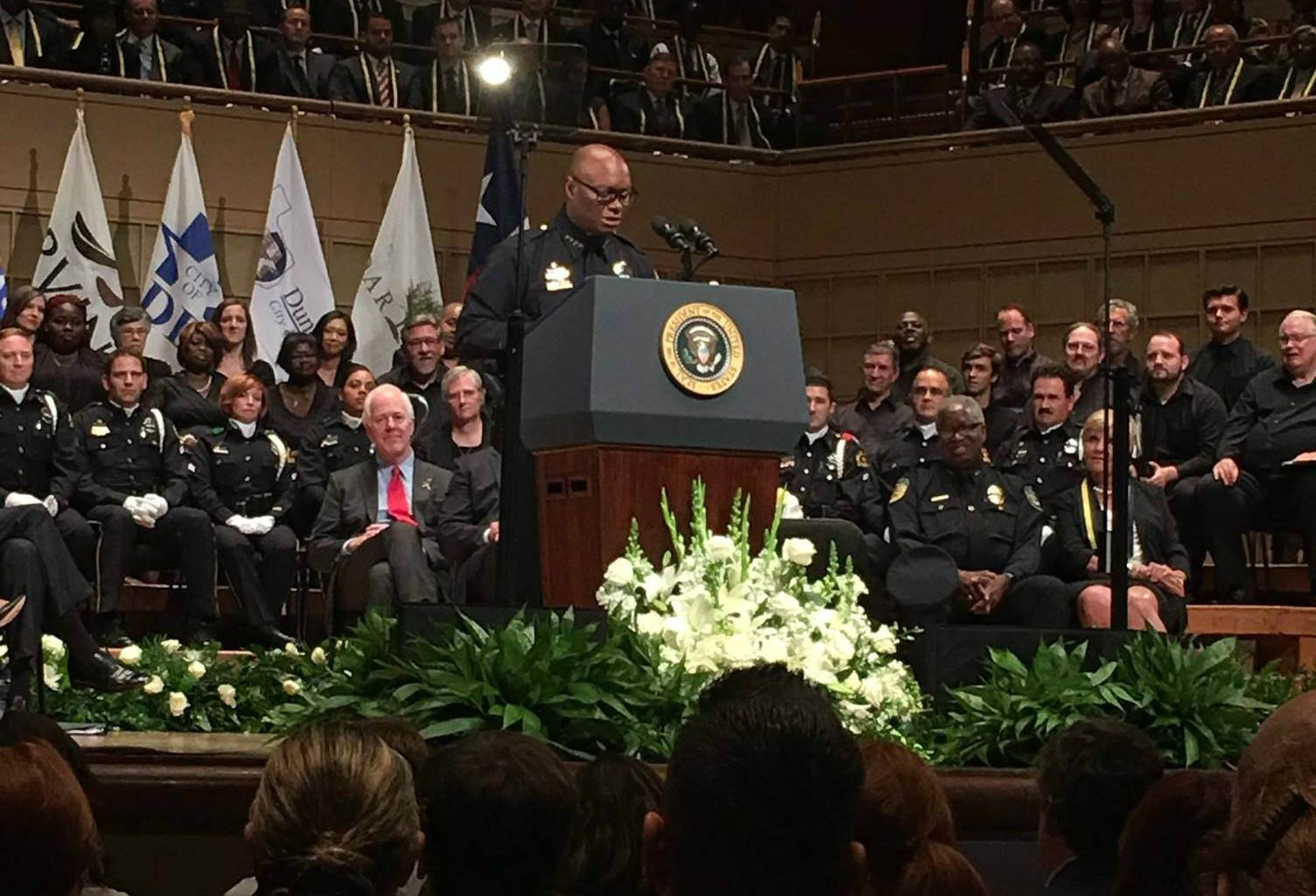 Dallas Police Chief David Brown speaks at memorial service for five slain officers. Photo credit: Dallas Police Department