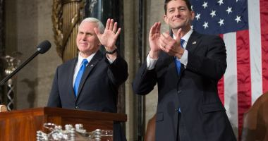 Vice President Mike Pence and Speaker Paul Ryan prior to President Trump's first address to Congress.