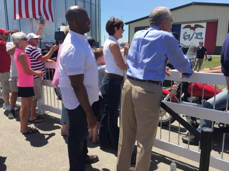 From left: U.S. Senator Tim Scott (R-SC), Iowa Governor Kim Reynolds, and U.S. Senator Chuck Grassley greet motorcyclists at the 3rd Annual Roast and Ride
