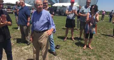 U.S. Senator Chuck Grassley (R-Iowa) responds to applause at the 3rd Annual Joni PAC Roast and Ride.