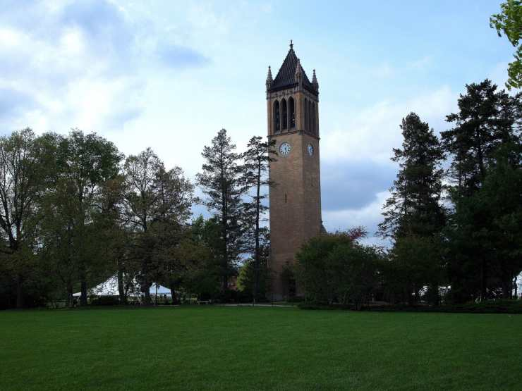 The Campanile at Iowa State University. Photo credit: Joe Wolf