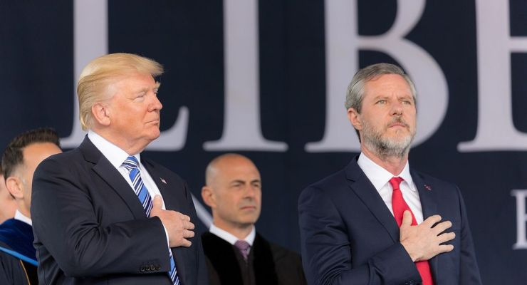 President Donald Trump with Jerry Falwell, Jr.