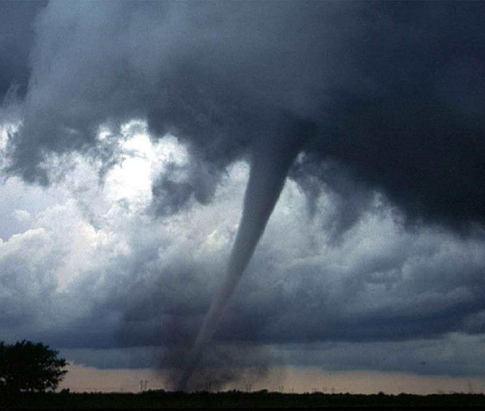 A photograph of a tornado or natural disaster