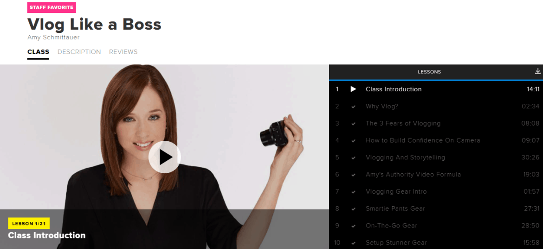 Screenshot of Vlog Like a Boss by Amy Schmittauer on CreativeLive.com