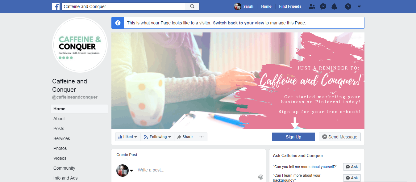 A screenshot of Caffeine and Conquer's Facebook business page