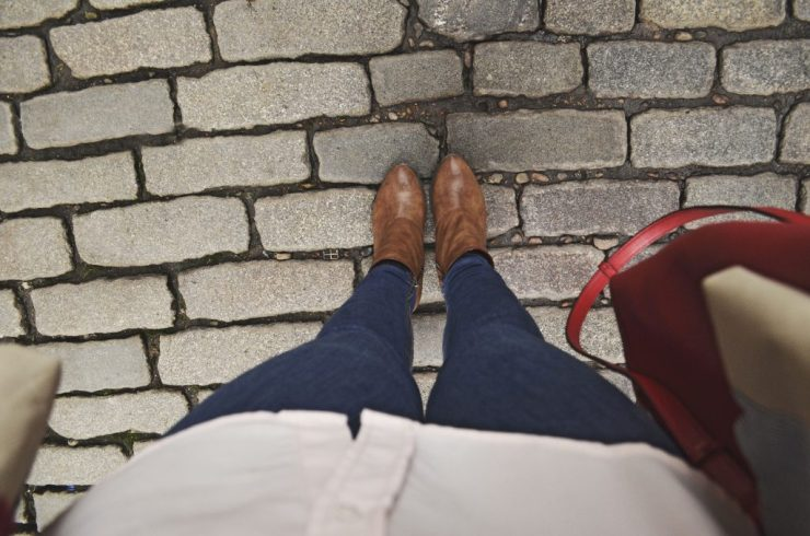 Booties from Blowfish, cobblestone streets